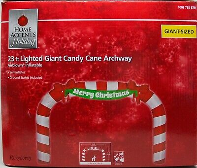 Christmas Home Accents Holiday 23 ft Giant Candy Cane Archway Inflatable AS IS