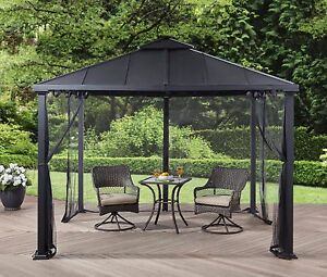 Metal Roof Gazebo with Netting Hard Top Pergola Canopy 10u0027x10u0027 Backyard Shelter & Metal Gazebo | eBay