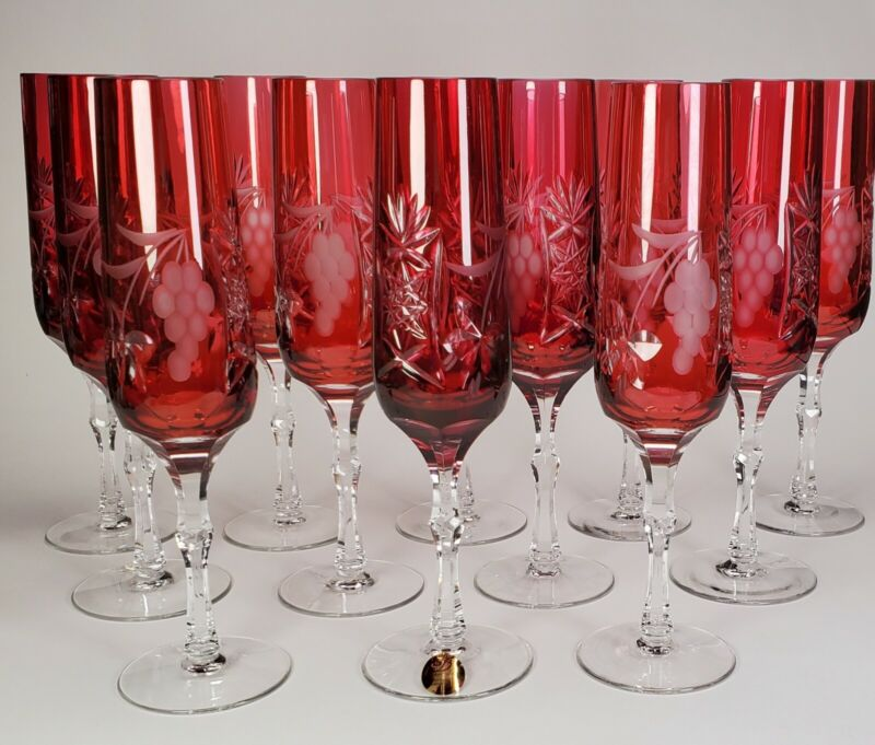 RUBY CRANBERRY CUT TO CLEAR SET OF 12 CHAMPAGNE GRAPES STEMS DRESDEN CRYSTAL