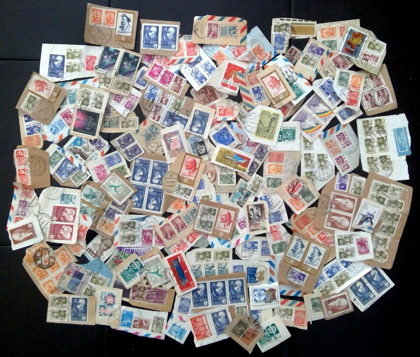Over 250 Russia CCCP Used Canceled Postage Stamps On Paper Over 100 Pieces 1.3oz - $9.95