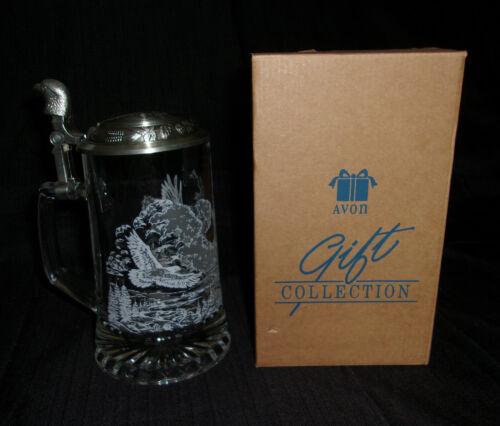 NIB AVON AMERICAN EAGLE ETCHED GLASS TANKARD W/ PEWTER LID 1997