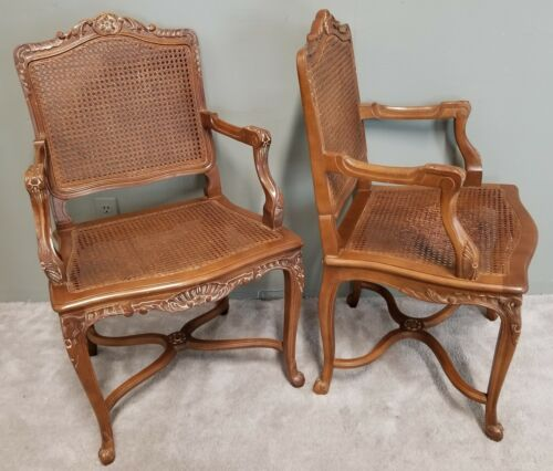 Pair of Vintage Louis XV French Provincial Country Cane Back & Seat Armchairs