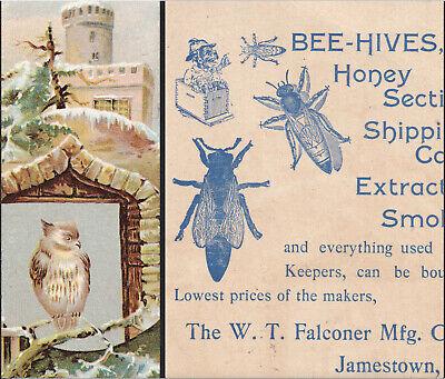 Bee Smoker 1800s Honey Bee-hive W.t. Falconer Jamestown Ny Owl Black Trade Card