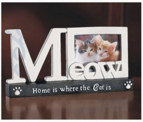 """Cute Cat Photo Frame 8""""W x 4""""H Paw Print Kitten Picture Meow Polyresin"""