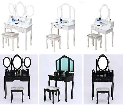 Wooden Dressing Table, Mirror & Stool Set Bedroom Makeup Desk 4-7 Drawers Vanity