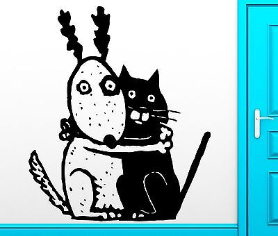 Wall Sticker Vinyl Decal Funny Dog And Cat Scary Kids Creepy Cool Decor (z2487) - Funny And Creepy