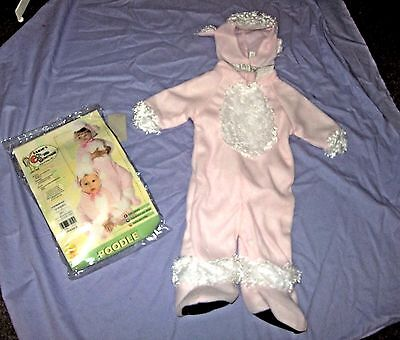 Baby Poodle Costume (Poodle dog fluffy costume Newborn 0-9 months romper feet hood pink puppy)