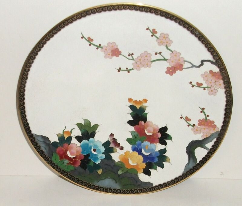 "INABA CLOISONNE WHITE ENAMEL FLORAL BLOSSOM 7""1/4 PLATE SIGNED MADE FOR GUMP"