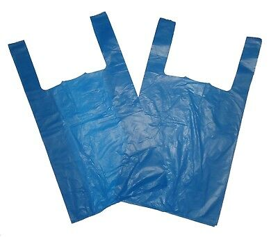 100 JUMBO STRONG BLUE VEST STYLE CARRIER BAGS 12