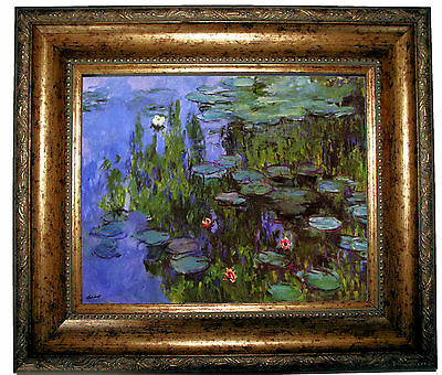 Monet Sea Roses - Antique Gold Framed Canvas Print 8x10