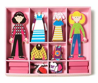 Melissa & Doug Magnetic Wooden DressUp Dolls Clothing Abby & Emma 60 Piece Set
