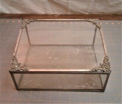Antique Victorian Table Top Display Showcase w Slant Lid Nickle and Tin 1880s -