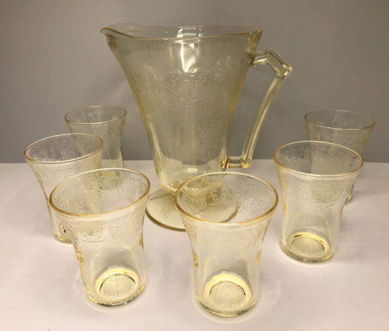 Hazel Atlas Yellow Depression Glass FLORENTINE #2 Pitcher and 6 Juice Glass SET