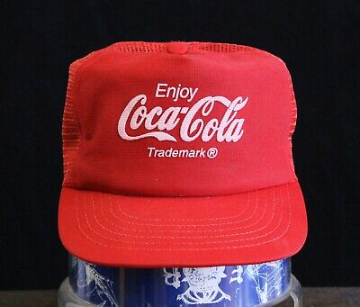 Vintage MADE IN USA Trucker Hat Snapback Cap Mesh Enjoy Coca Cola Coke Soda Logo