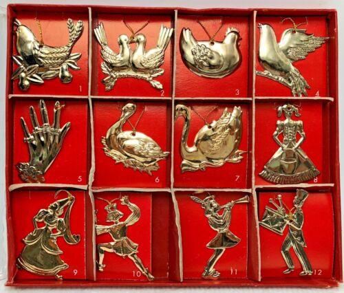 Vintage 1982 Mann 12 Twelve Days of Christmas Brass Metal Ornaments #1200