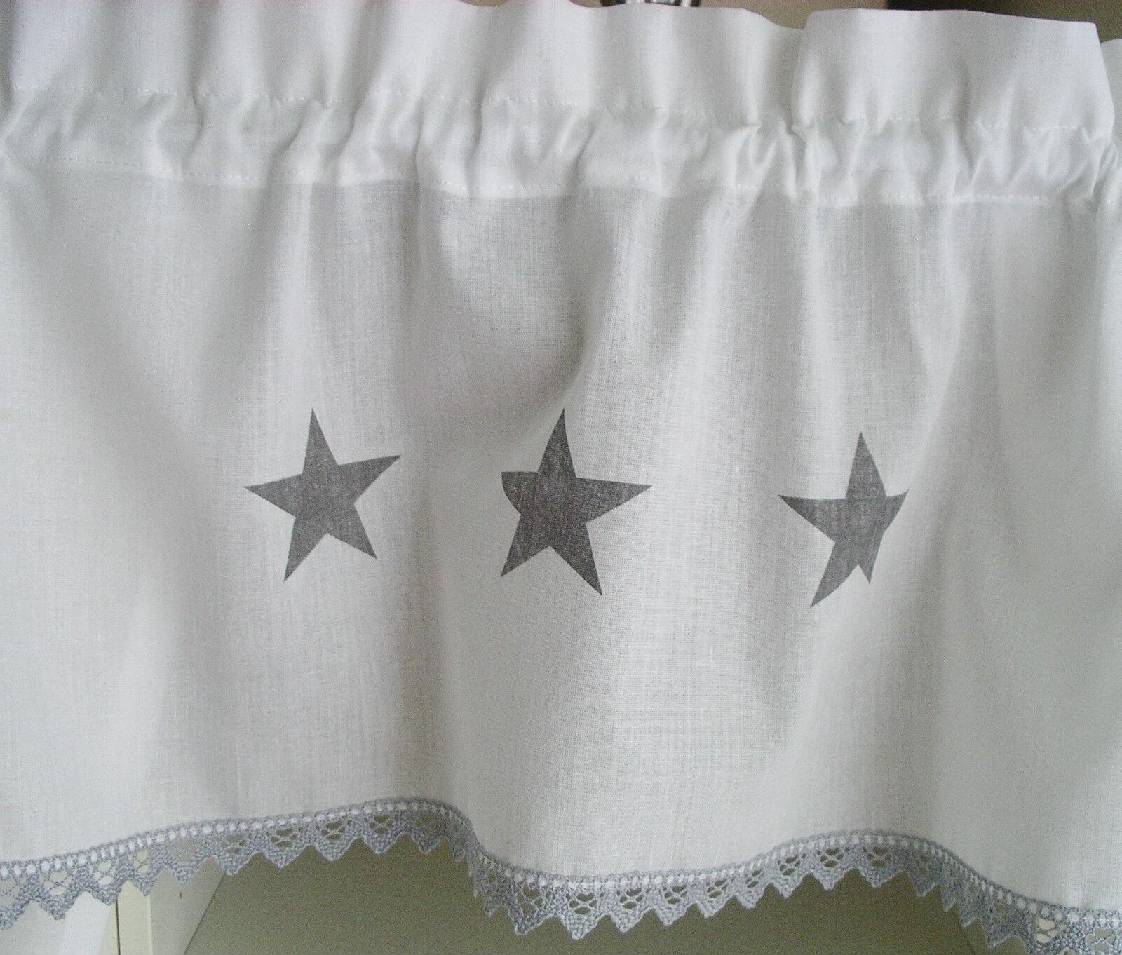 Shabby chic 5 tlg set gardine sterne vorhang schal - Schabracke gardine ...