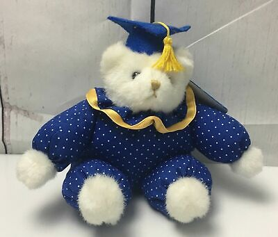 Vintage RUSS Caress Soft Pets Teddy Bear Plush with Blue Graduation Cap  Graduation Soft Bear