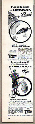 1957 Vintage Ad Heddon River Runts & Hep Fishing Lures 12 lb Largemouth Bass