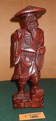 """Vintage Carved Wood Chinese Elderly Wise Man Figurines 11 1/2"""""""