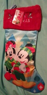 NEW Disney Mickey Minnie Mouse Merry Christmas Stocking Satin with Plush Cuff