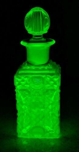 "Antique Uranium Vaseline Glass Stoppered Bottle Jar ~ 6 x 2"" Square"