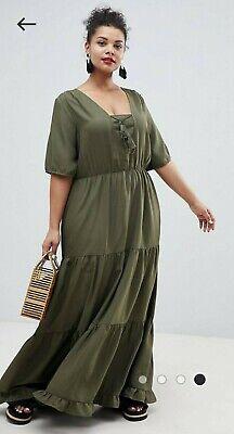 ASOS Curve Junarose Prairie Maxi Dress with Tassel Detail Khaki Size 22 RRP £55