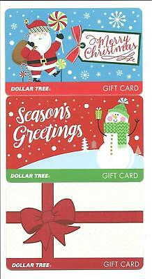 Lot (3) Dollar Tree Gift Cards No $ Value Collectible Christmas Santa Snowman Dollar Tree Gift Cards