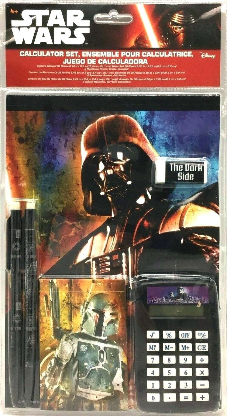 Star Wars The Force Awakens Fun Stationery Set with Calculator Set of 7 New