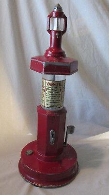 """VAN LITE LIGHTER FLUID DISPENSER Coin Op MACHINE 1 Cent 18"""" Visible Gas Pump Old"""