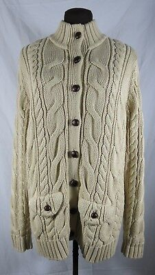 Lands End Cotton Tan Cardigan Collared Large Buttons Beige Natural Pockets ()