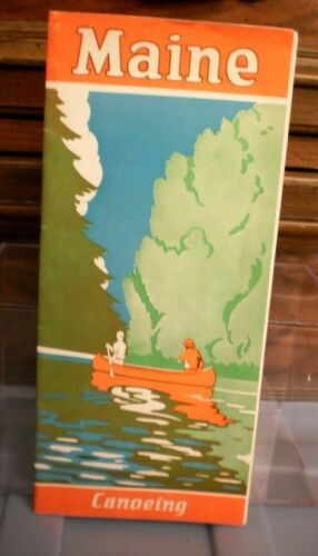 Exquisite Art Deco 1932 MAINE Canoeing & Camping Collectible Brochure Pamphlet