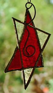 RUBY-RED-SILVER-STAR-Leadlight-Hand-Made-CHRISTMAS-TREE-TABLE-DECORATION-GIFT