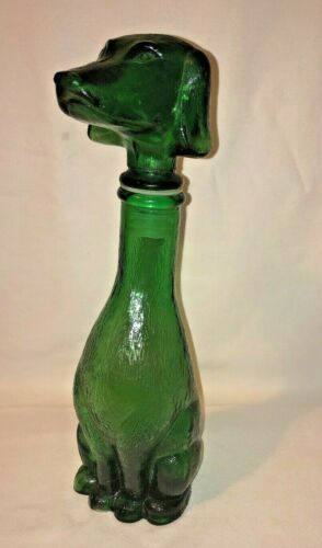 Vintage Barsottini Green Glass Dachsund decanter