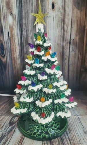 "Ceramic Christmas Tree Lighted 10"" - Green Glaze - Green Holly Base"