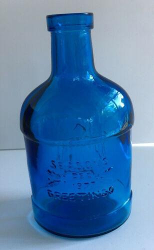 Vintage Blue Glass Holiday Bottle ~ Season