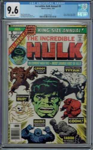 CGC 9.6 HULK ANNUAL #5 2ND APPEARANCE OF GROOT 1976 WHITE PAGES