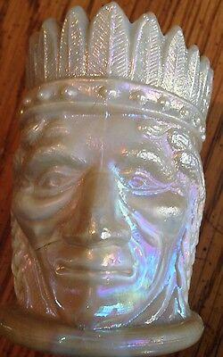 Vintage Joe St. Clair Toothpick Holder Indian Head Chief Signed Tan Beige Slag!
