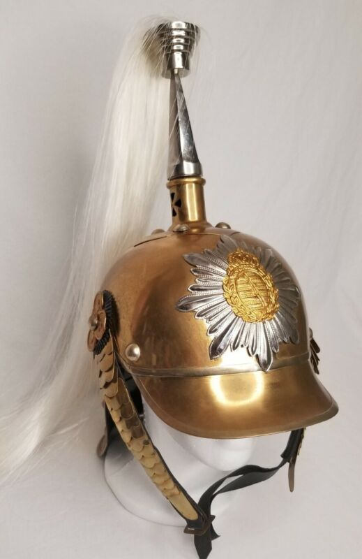 German Picklehaube Helmet with Plume Brass Replica Collectable