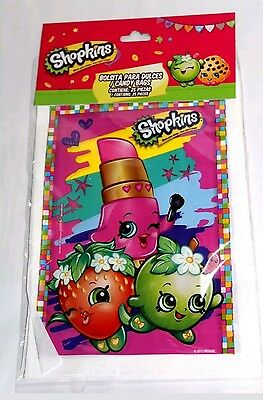 Shopkins Plastic Party Favor Bags, Loot Treat Candy Bags, Party Supplies *25CT*