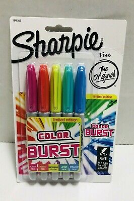 New Sharpie Color Burst Limited Edition 5 Piece Fine Point Permanent Markers