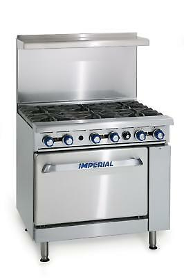 Imperial Range Ir-6-c 36 Commercial Gas 6 Burner Range W 26.5 Convection Oven