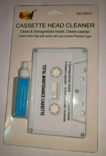 Audio Cassette Tape Head & Capstan Cleaner Maintenance Kit w/US Solution New
