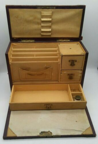 Antique Victorian Portable Writing Desk Folding w/INK WELL, Several Compartments