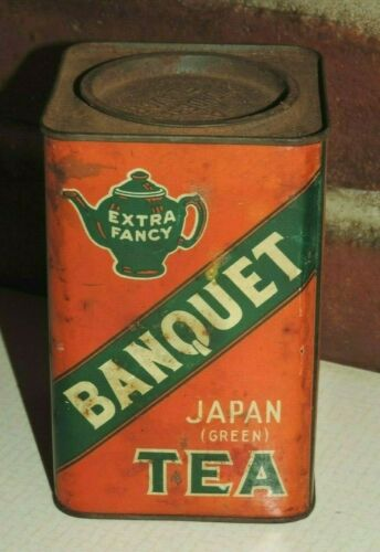 VINTAGE EXTRA FANCY BANQUET JAPAN GREEN TEA FULL TIN MCCORMICK CO BALTIMORE USA