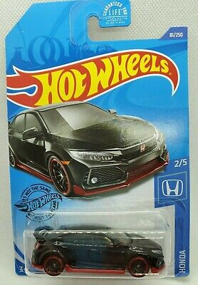 2020 Hot Wheels #81 Black Red 2018 Honda Civic Type R Red Rims