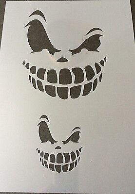 Scary Face Halloween Mylar Reusable Stencil Airbrush Painting Art Craft DIY ()
