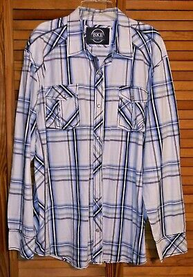 Used, B.K.E. ATHLETIC FIT MEN'S WESTERN SHIRT XXL PEARL SNAPS STRIPED LONG SLEEVES for sale  Bancroft