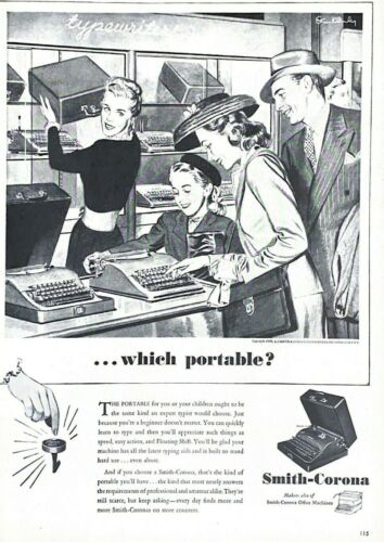 1946 Smith Corona Typewriter Vintage Print Ad Which Portable Parents Daughter