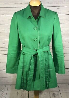 Pendleton Womens Cotton Trench Coat Belted Button Up Lined Size Small Green
