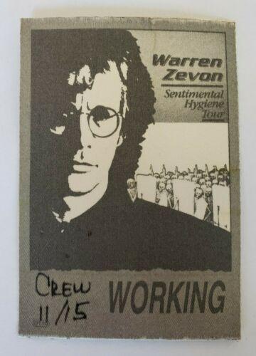 vtg (1987) WARREN ZEVON Sentimental Hygiene concert Tour Seattle BACKSTAGE PASS